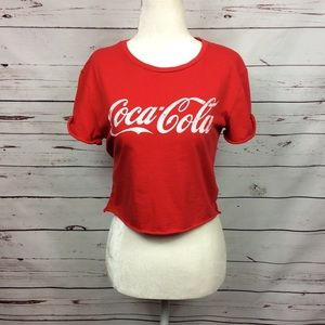 [Coca-Cola] Cropped Graphic T-Shirt, Red